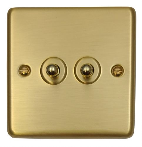 G&H CSB282 Standard Plate Satin Brushed Brass 2 Gang 1 or 2 Way Toggle Light Switch